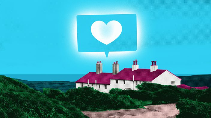 A white cottage with a red roof stands alone in a coastal scene with the sea in the distance. A message bubble containing a heart shines above the house