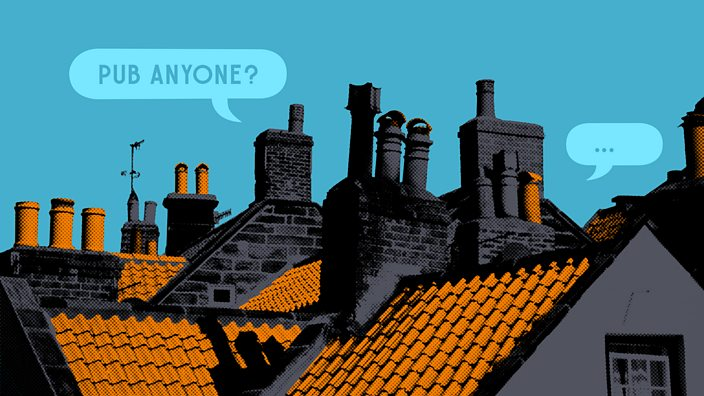 Close-up shot of village rooftops with speech bubbles around the chimney stacks asking if anyone would like to go to the pub