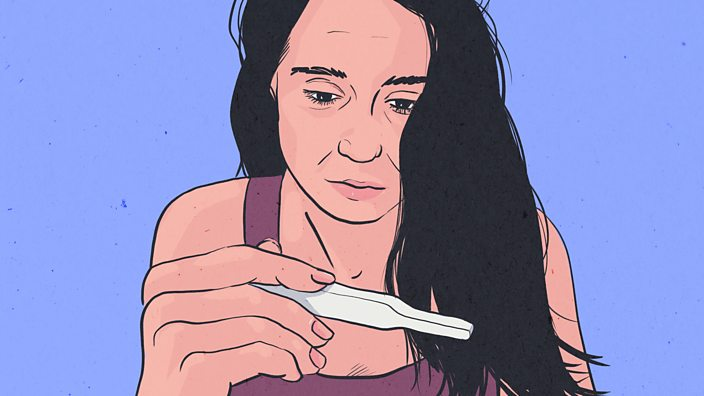 An illustration of a woman staring at a pregnancy test she is holding