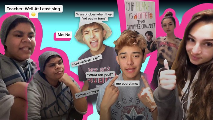 A collage of three activists who use Tik Tok to spread their message