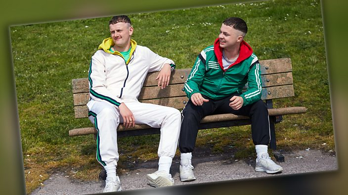 The Young Offenders on a bench