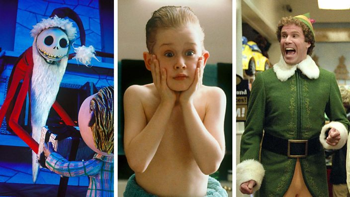 Scenes from Nightmare Before Christmas, Home Alone and Elf