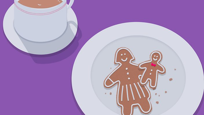 An illustration showing a gingerbread woman and child