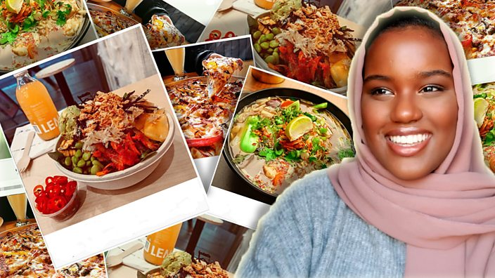 A Muslim woman eating a vegan burger