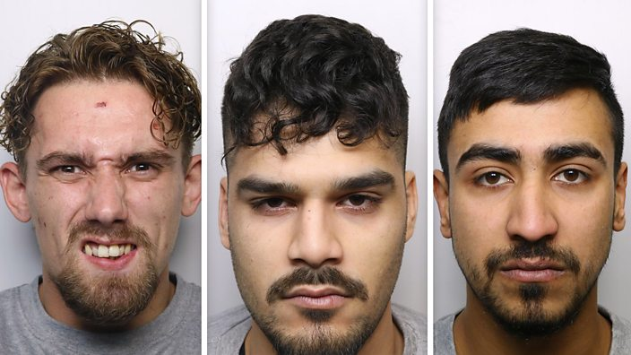 Robert Wainwright, Raheel Khan and Suleman Khan (left to right) were found guilty of the murder of Mohammed Feazan Ayaz