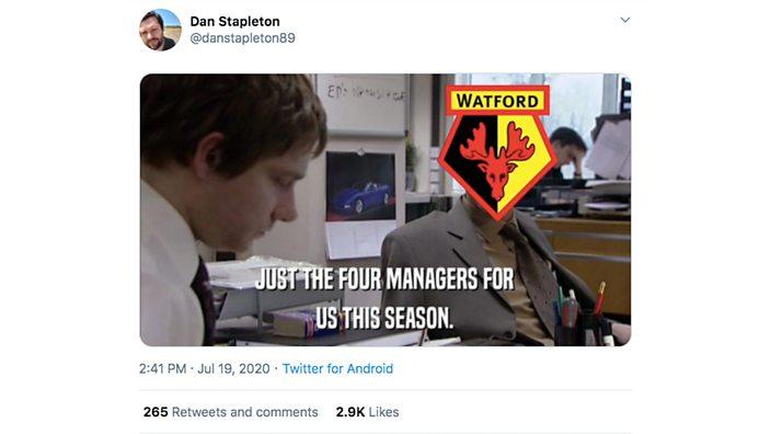 Tweet about Watford