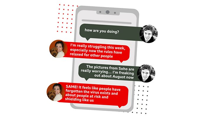 An illustration of a WhatsApp conversation between Hannah and Alex (the article authors). Alex: How are you doing? Hannah: I'm really struggling this week, especially now the rules have relaxed for other people. Alex: The pictures from Soho are really worrying... I'm freaking out about August now. Hannah: SAME! It feels like people have forgotten the virus exists and about people at risk and shielding like us