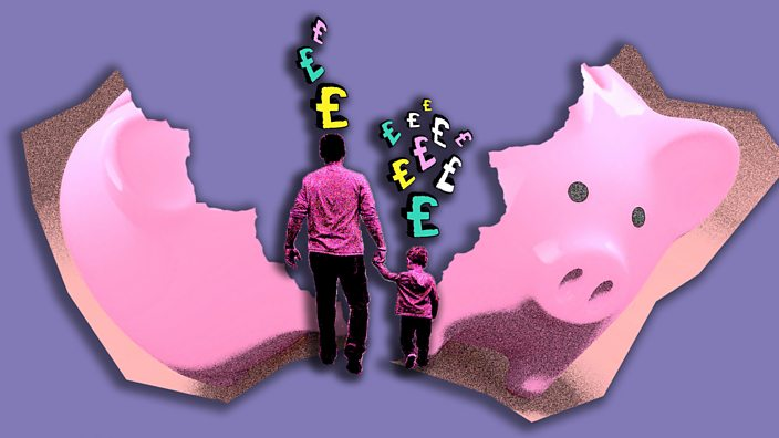 A parent and child with pound signs above their heads in front of a broken piggy bank