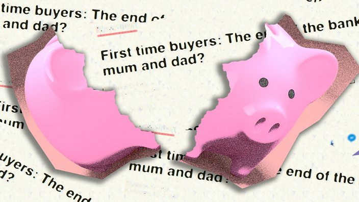 A broken piggy bank in front of headlines about the bank of mum and dad