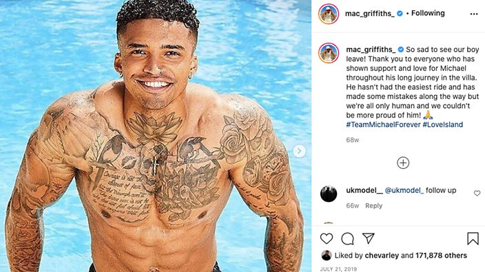 Post on Michael Griffiths' Instagram: Michael in pool, Love Island