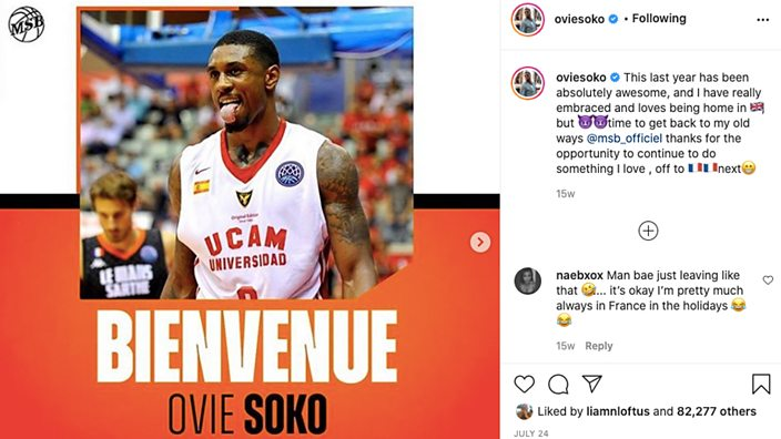 Post from Ovie's Instagram: Ovie announced as Le Mans player