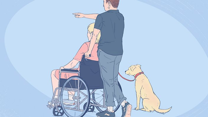 Illustration of a couple and their pet dog, with one of the couple in a wheelchair
