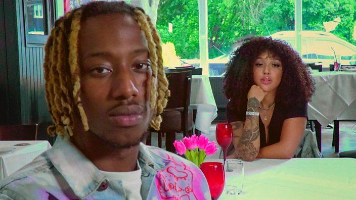 A photo of two exes at a dinner table