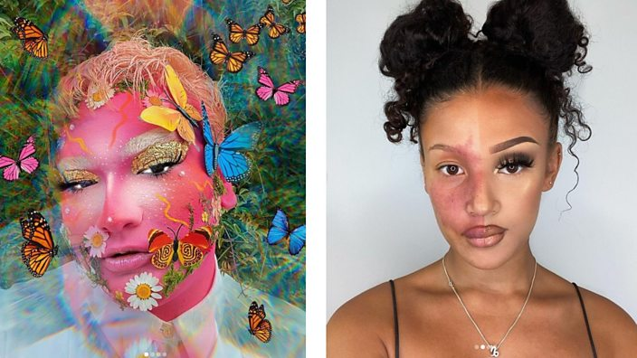 Right image is a make-up look by Xavi. The left image is of Ryley with a half and half natural look with a full make up look - leaving her birthmark visible.