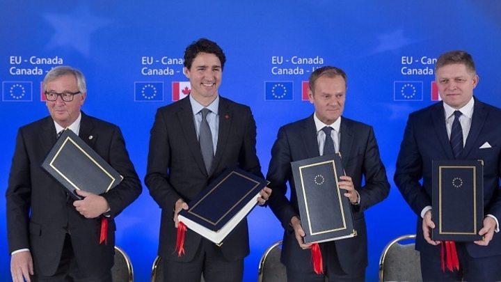 Ceta Eu And Canada Sign Long Delayed Free Trade Deal Bbc News