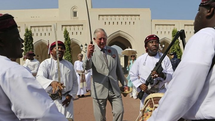 Prince Charles begins Middle East tour with Oman sword dance