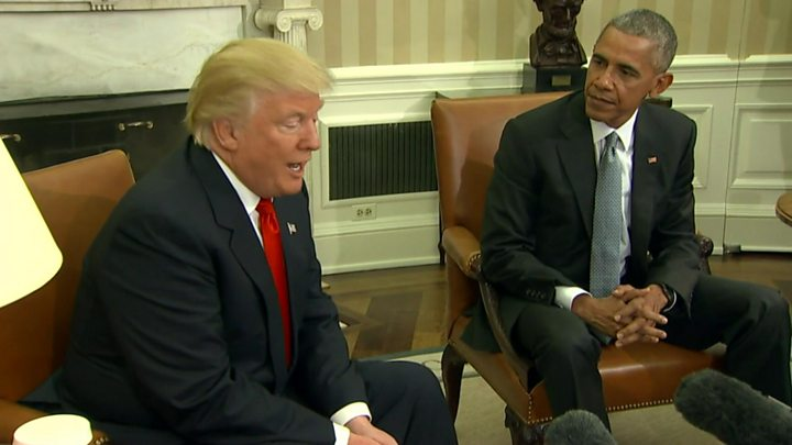 Donald Trump and Barack Obama meet at White House