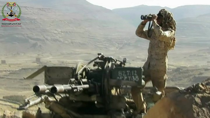 The BBC's Nawal Al-Maghafi visits the front line of the Yemen army's battle for the capital of Yemen