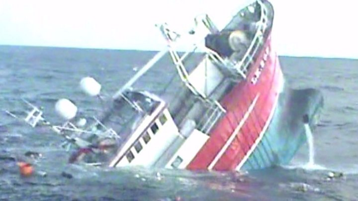Crew Jumped From Sinking Fishing Boat Ocean Way Bbc News