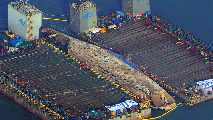 Sewol Disaster Ferry Raised In South Korea After Three Years Bbc News