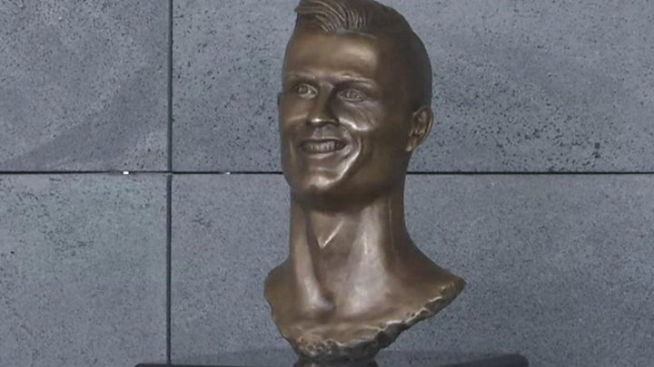 Much-mocked bust of Cristiano Ronaldo replaced with better-looking one