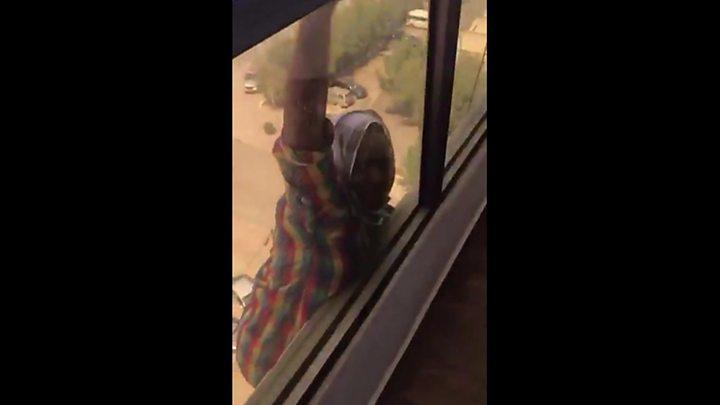 Bbw  wife showing through open window