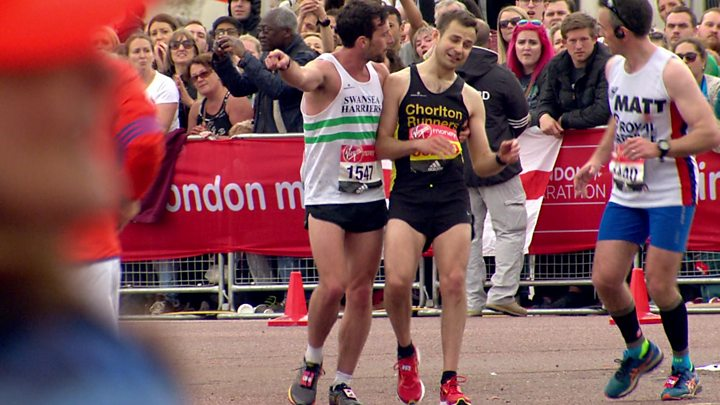 Matthew Rees Helped David Wyeth Up The Mall To Finish Line Of London Marathon