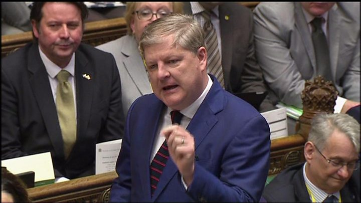 Media playback is unsupported on your device                  Media caption The SNP's Angus Robertson clashed with Theresa May at the final PMQs before the election