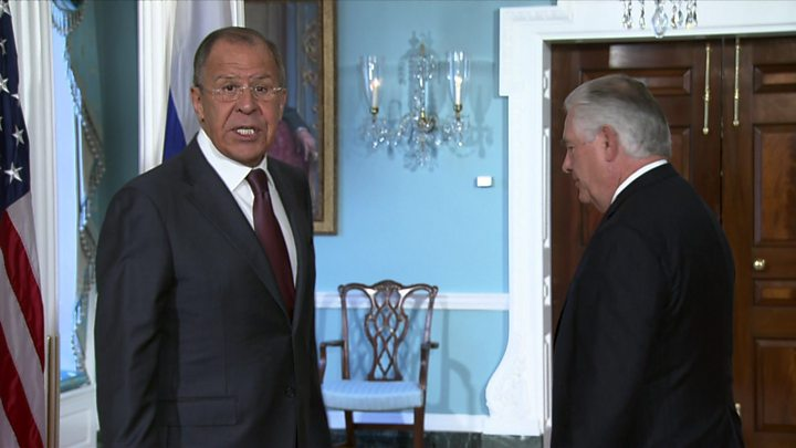 Media captionLavrov jokes about the firing of Comey