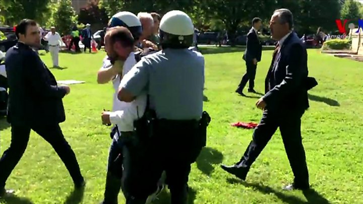 The violence took place outside the Turkish ambassador's residence in Washington DC