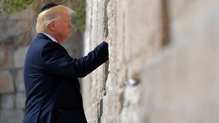Media playback is unsupported on your device                  Media captionWatch Donald Trump visits sacred Western Wall and makes Iran warning