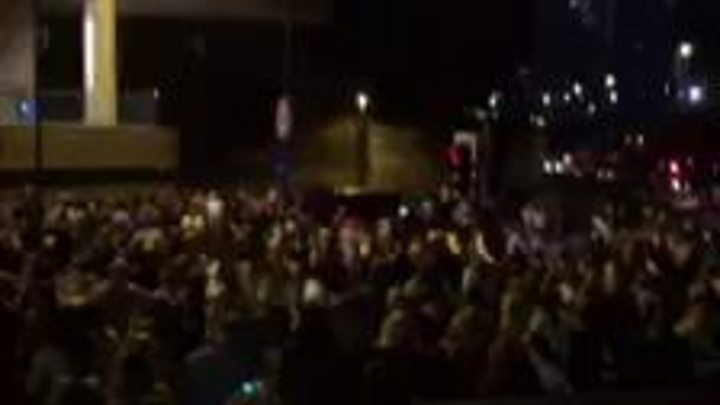 Footage by Sebastian Diaz captures the scale of the chaos outside the arena