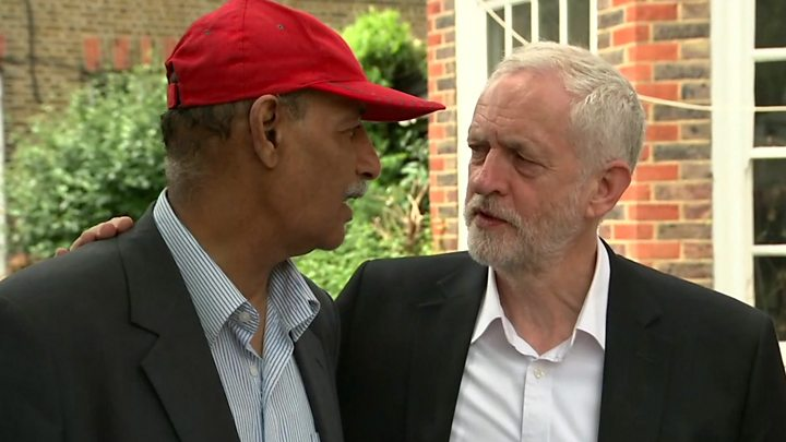 """Media playback is unsupported on your device Media captionLabour leader Jeremy Corbyn visited the site and spoke to locals Empty flats in North Kensington should be """"requisitioned if necessary"""" for people left homeless by the Grenfell Tower fire, Jeremy Corbyn says.The Labour leader has also said he is """"very angry"""" that so many lives were lost in a deadly tower block fire.PM Theresa May said the residents were """"in our thoughts and prayers"""" and has ordered a public inquiry into the fire. But she was criticised by a senior Labour MP for failing to meet residents when she visited the scene on Thursday.At least 17 people died in the disaster at Grenfell Tower in North Kensington, west London in the early hours of Wednesday. PM orders public inquiry Six questions for the investigators Live updates Mr Corbyn, who earlier released a statement saying he was """"very angry that it was possible for the fire to spread in the way it did,"""" said people living in high-rise flats would be frightened.."""