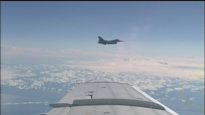 Russian defence minister's plane 'buzzed' by Nato jet
