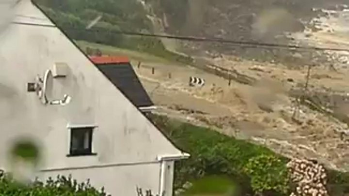 Flash flood sweeps through Coverack in Cornwall