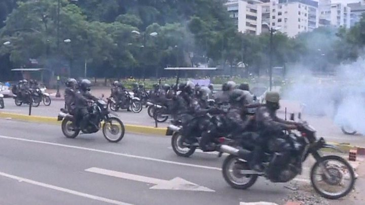 Clashes and demonstrations took place in the capital Caracas on Sunday