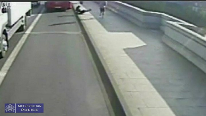 Jogger 'pushes' woman in front of a double-decker bus on Putney Bridge