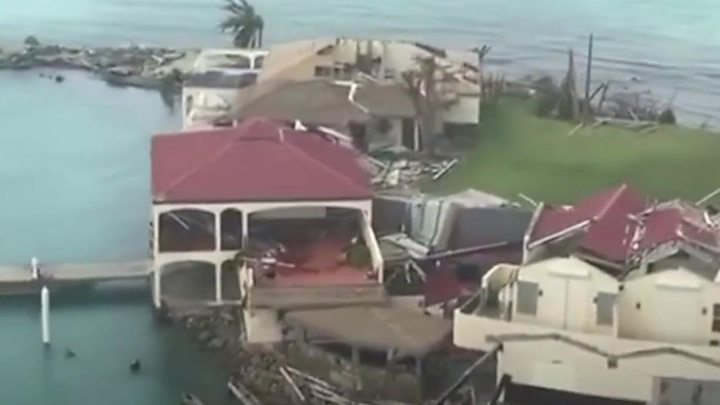 Media playback is unsupported on your device                  Media caption Aerial footage shows the devastation that Hurricane Irma has caused