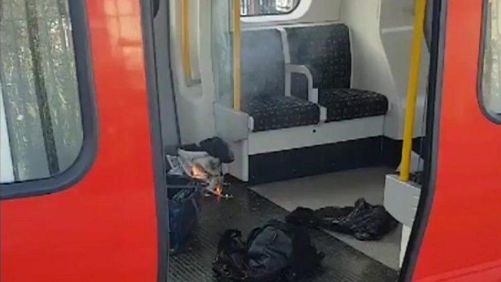 Footage shows burning bag on Tube
