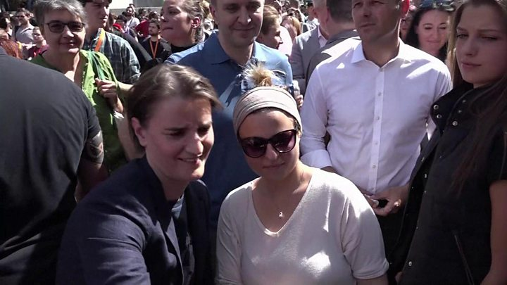 Serbia's openly lesbian PM marches in Belgrade's gay pride parade