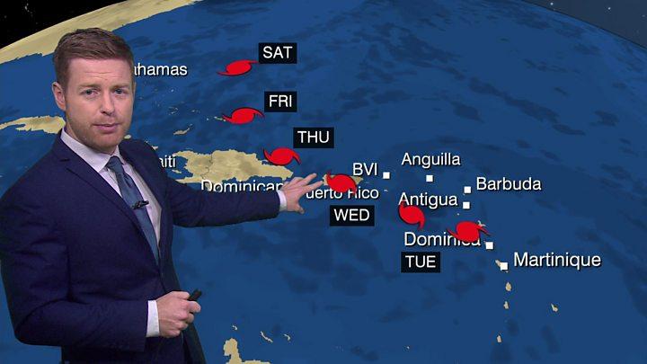 Hurricane Maria tracks towards Puerto Rico