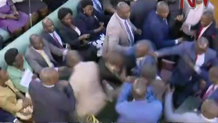 Uganda MPs fight during parliament debate