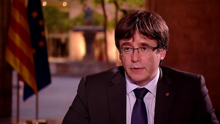 Carles Puigdemont spoke to the BBC on Tuesday evening