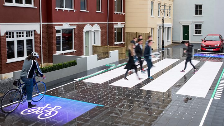 3D Zebra crossing with people crossing and a cyclist waiting