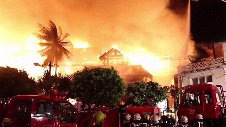 Fire rages through Myanmar hotel