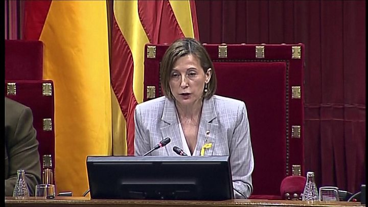 Image result for Catalans declare independence as Madrid imposes direct rule