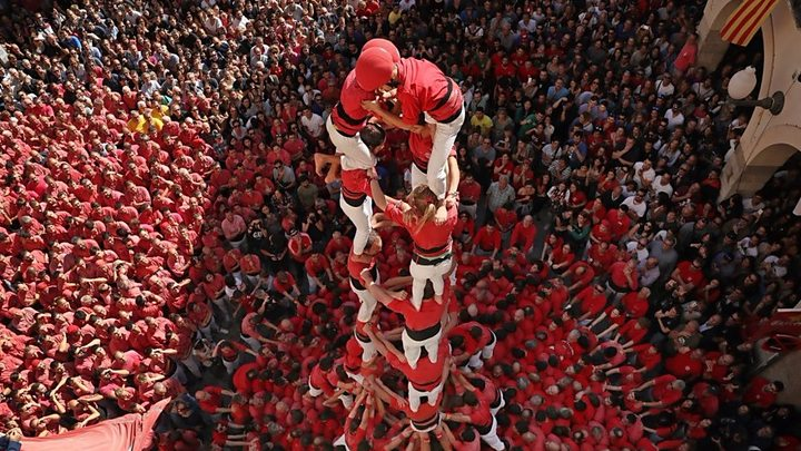 Catalonia's human towers are said to represent the spirit of its people - when they stick together they can achieve big things
