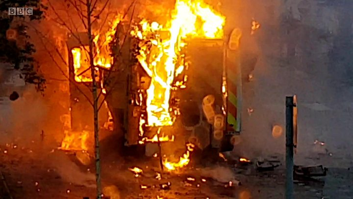 Police launch probe after an ambulance 'EXPLODED' into flames outside a hospital