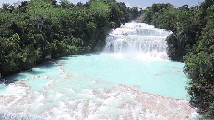 mexico waterfall agua azul cascades return to quake hit river bbc