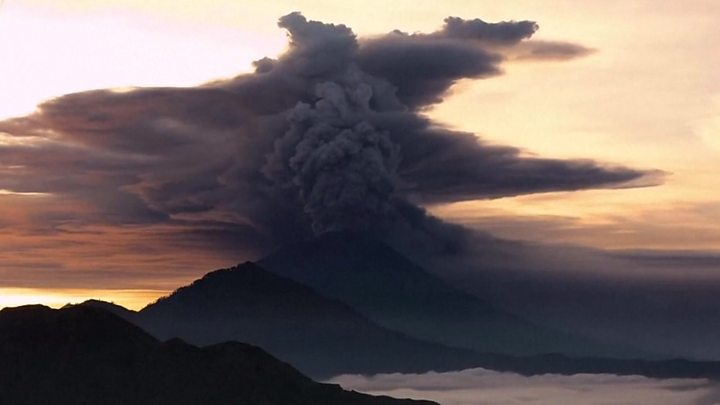 Timelapse footage shows ash rising into the sky, disrupting flights